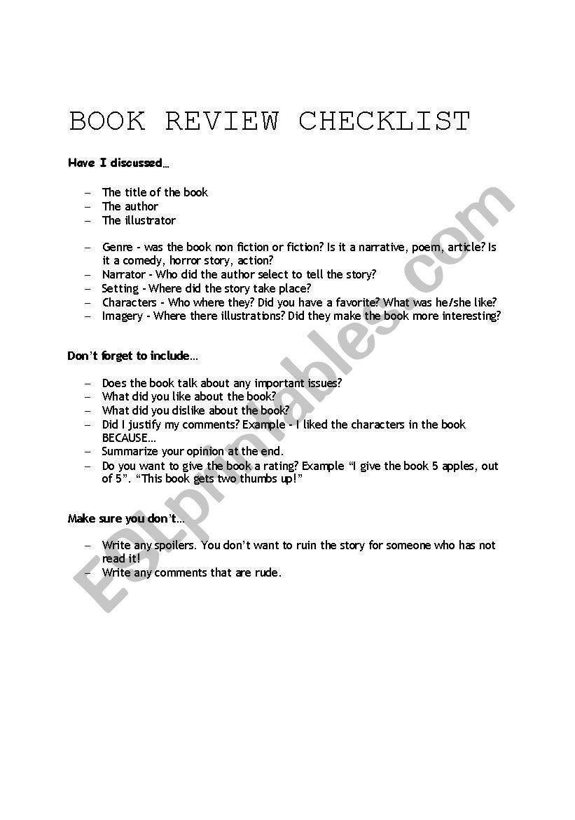 Book Review Checklist worksheet
