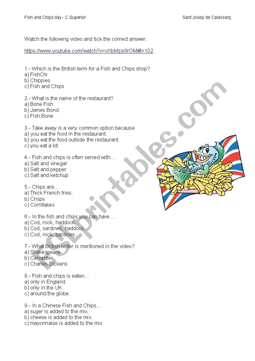 fish and chips worksheet