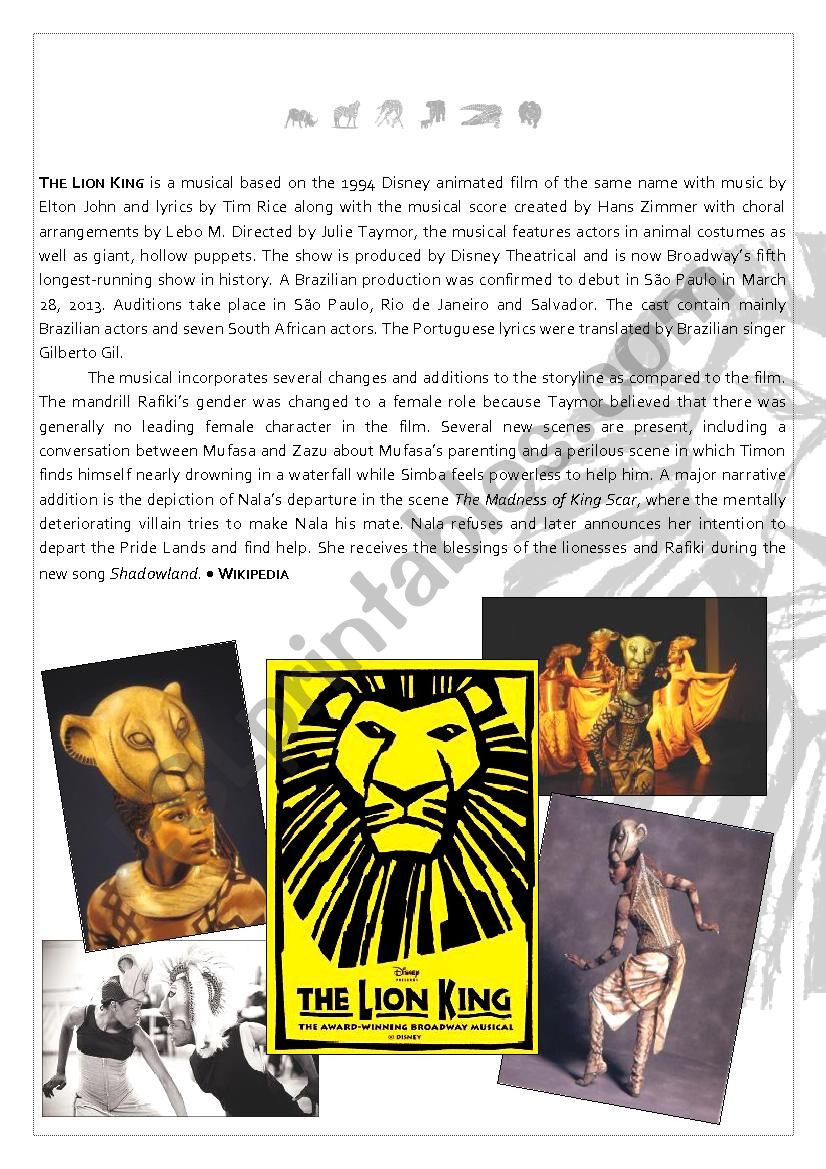 The Lion King Reading Bet - Text + Answer Key (I)