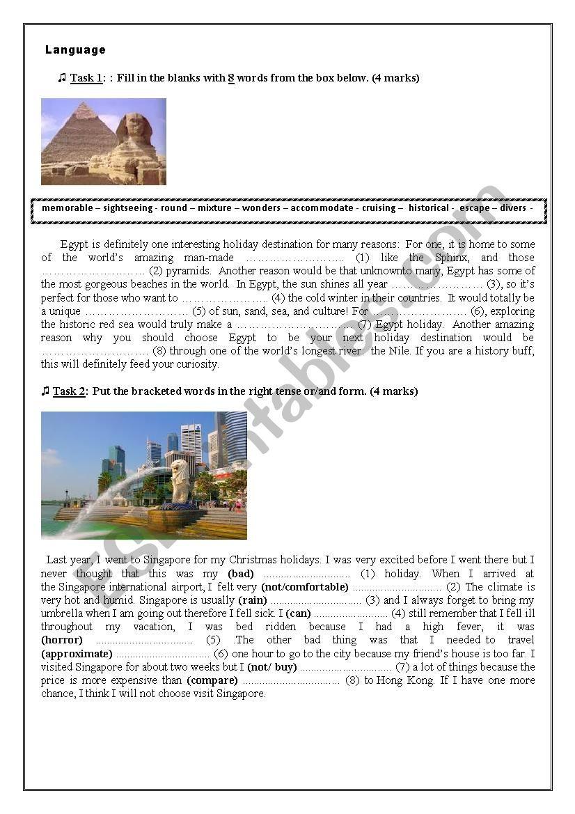 Holidaying and tourism  worksheet
