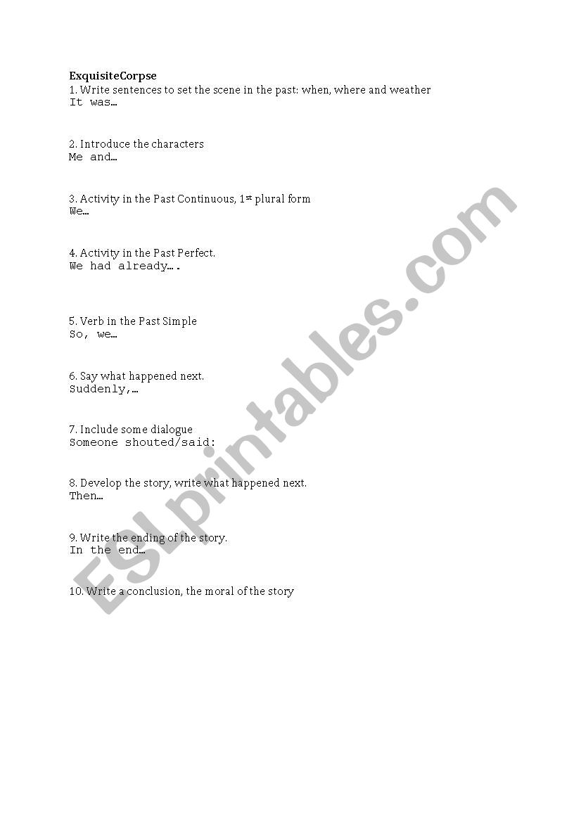 exquisite corpse writing template