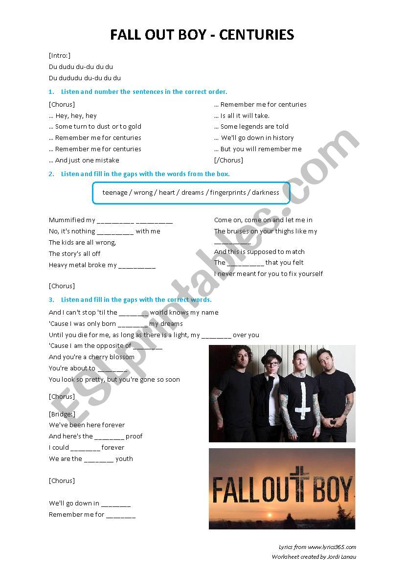 Fall Out Boy Centuries Esl Worksheet By Kayd82