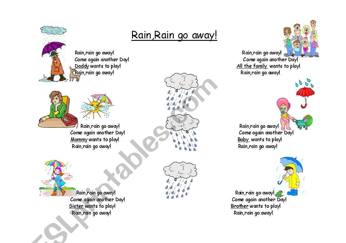 Rain,rain go away!  A great song to teach!