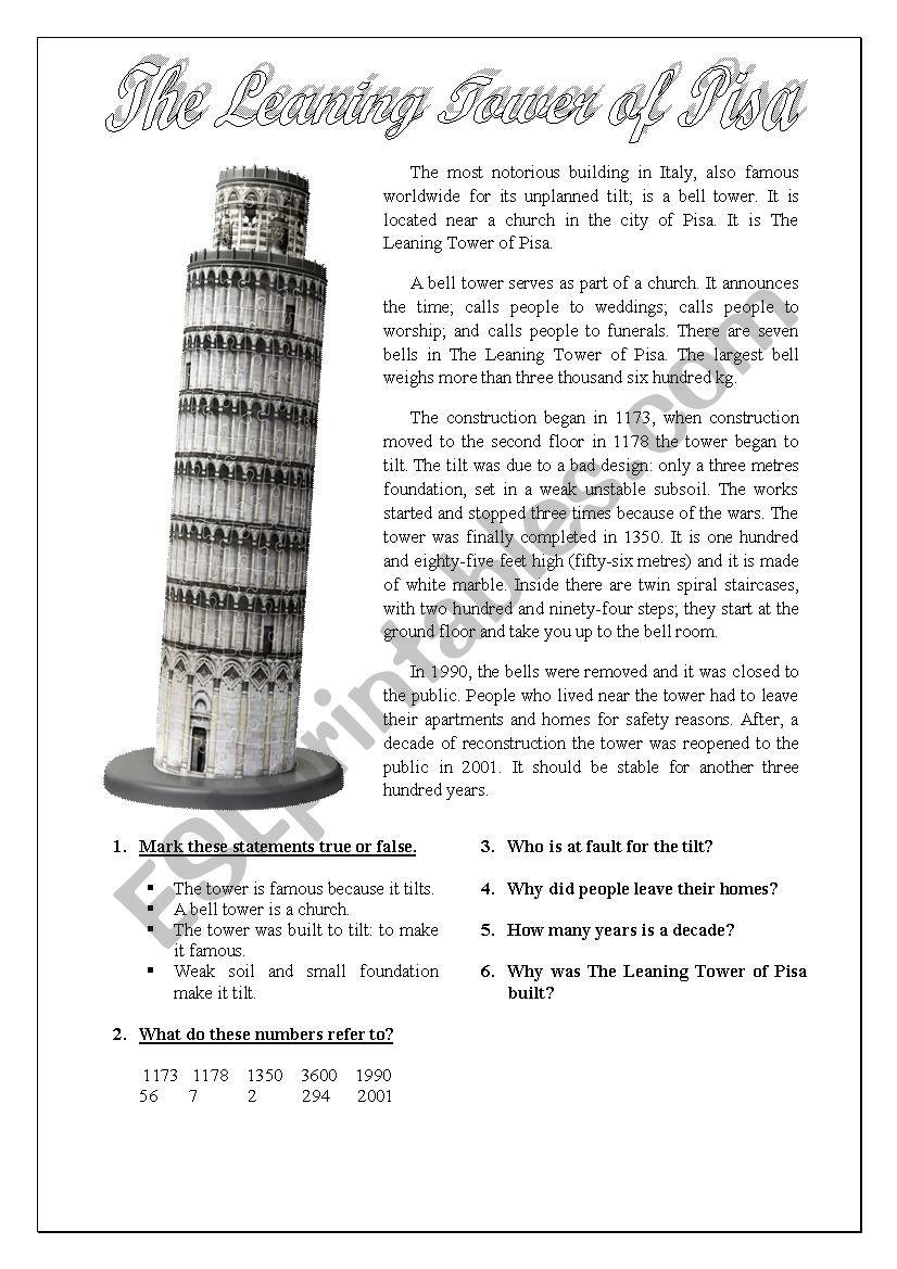 The Tower of Pisa in Italy worksheet