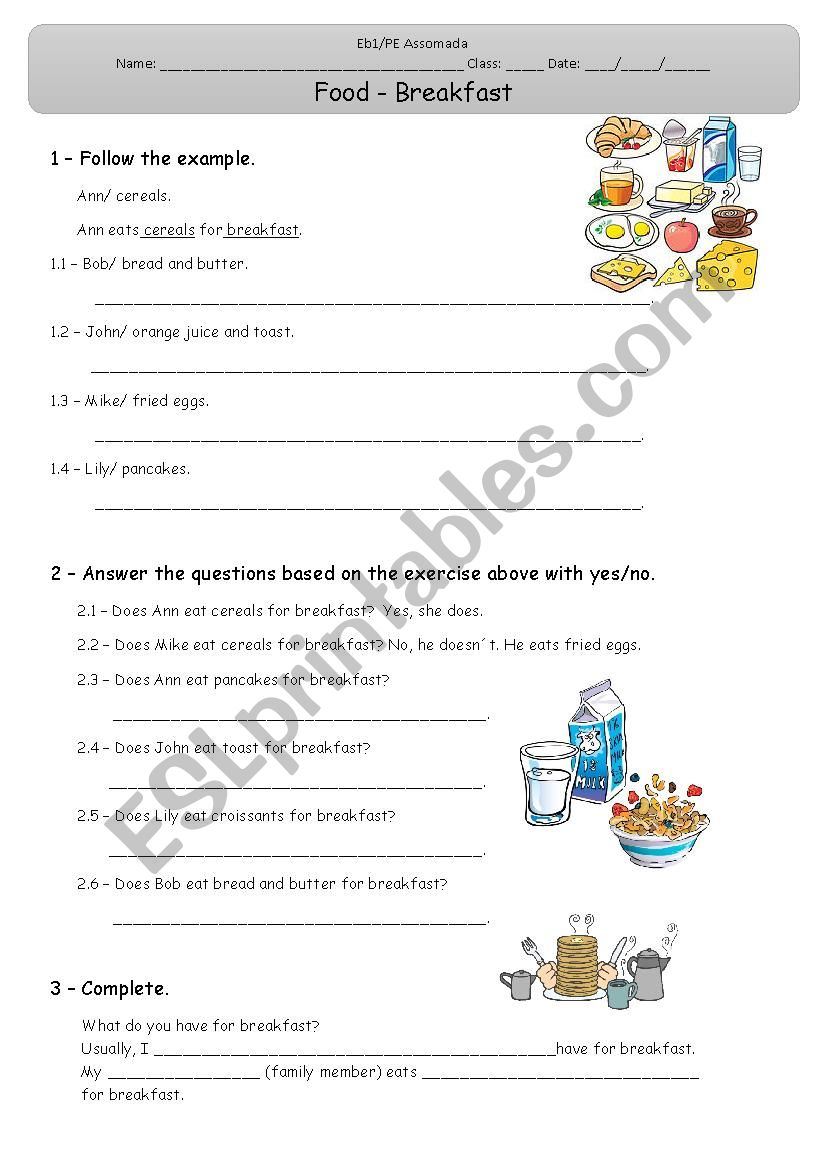 Food - Breakfast worksheet