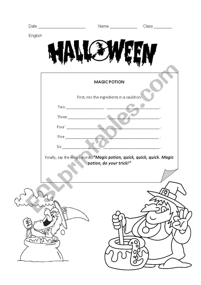 Magic potion worksheet