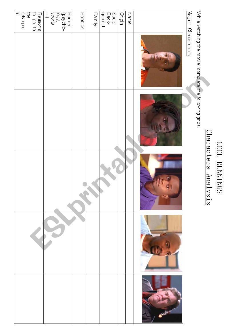 Cool Runnings worksheet