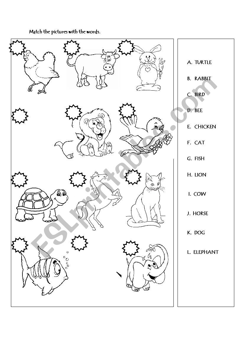 Animals matching activity worksheet