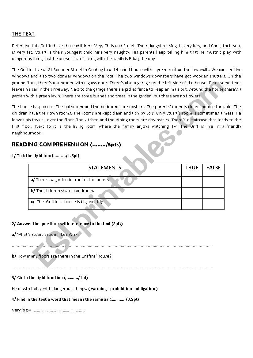 full term test 2 7th form worksheet