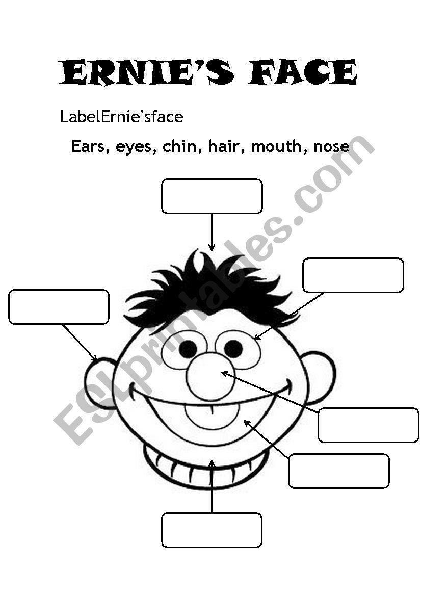 Ernie´s face worksheet