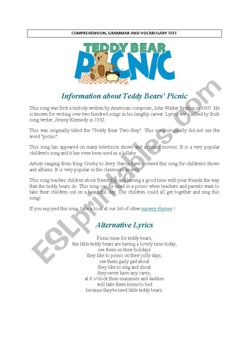 Teddy Bears´ Picninc song : comprehension and other exercises.