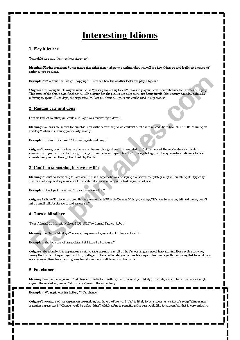 Interesting Idioms worksheet