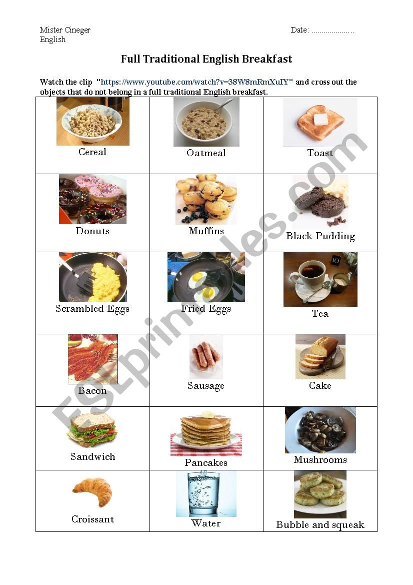 The full English breakfast worksheet