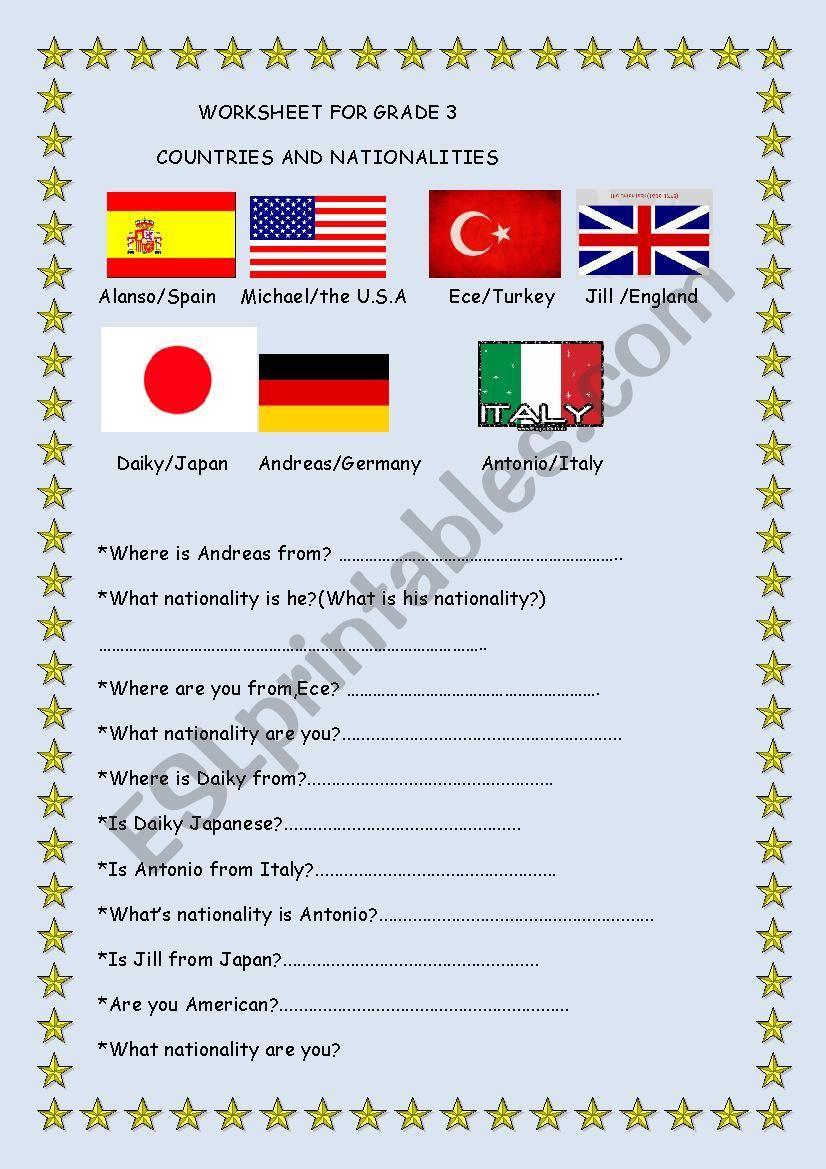 COUNTRIES/NATIONALITIES worksheet