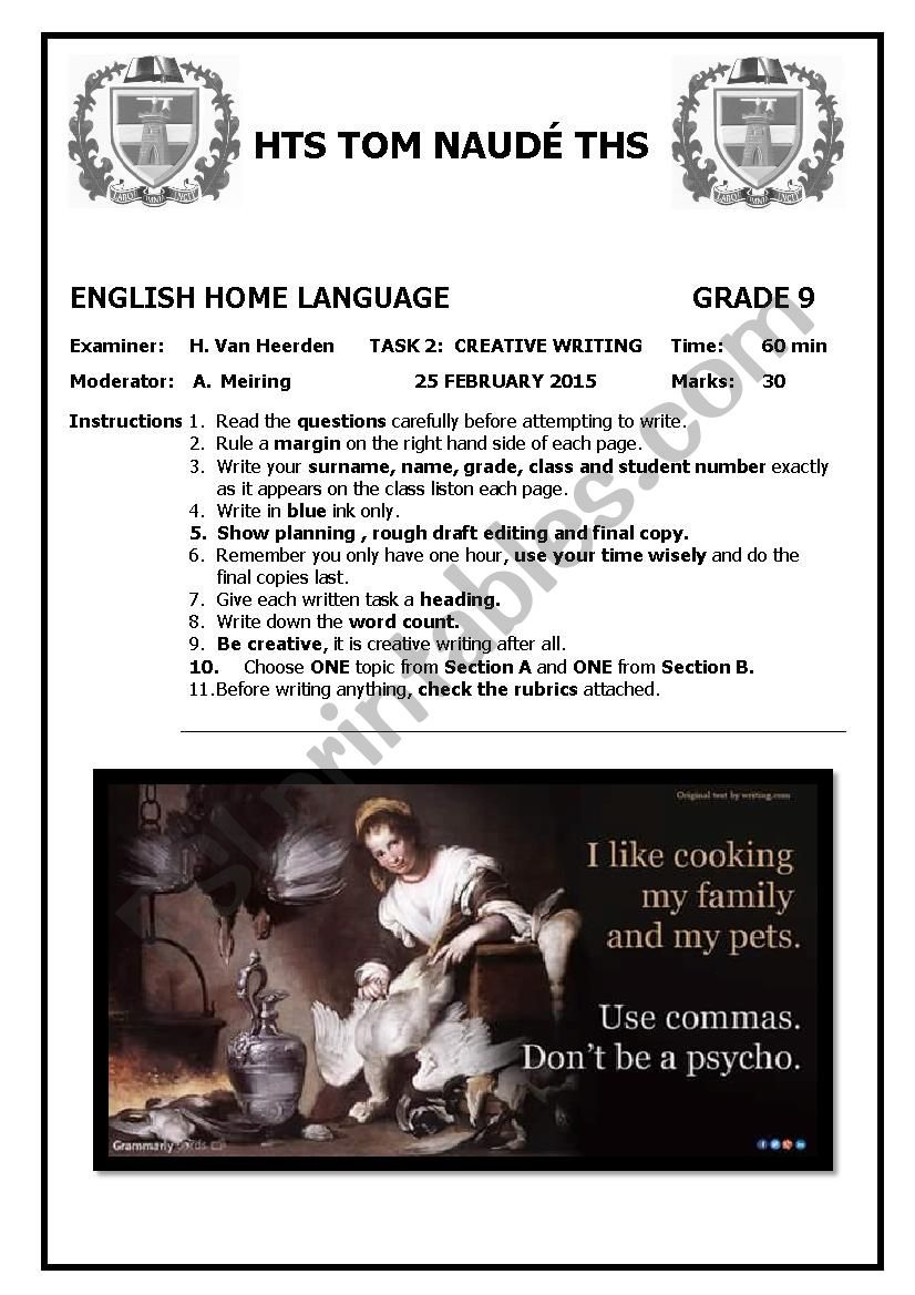 Grade 9 Creative Writing Test worksheet
