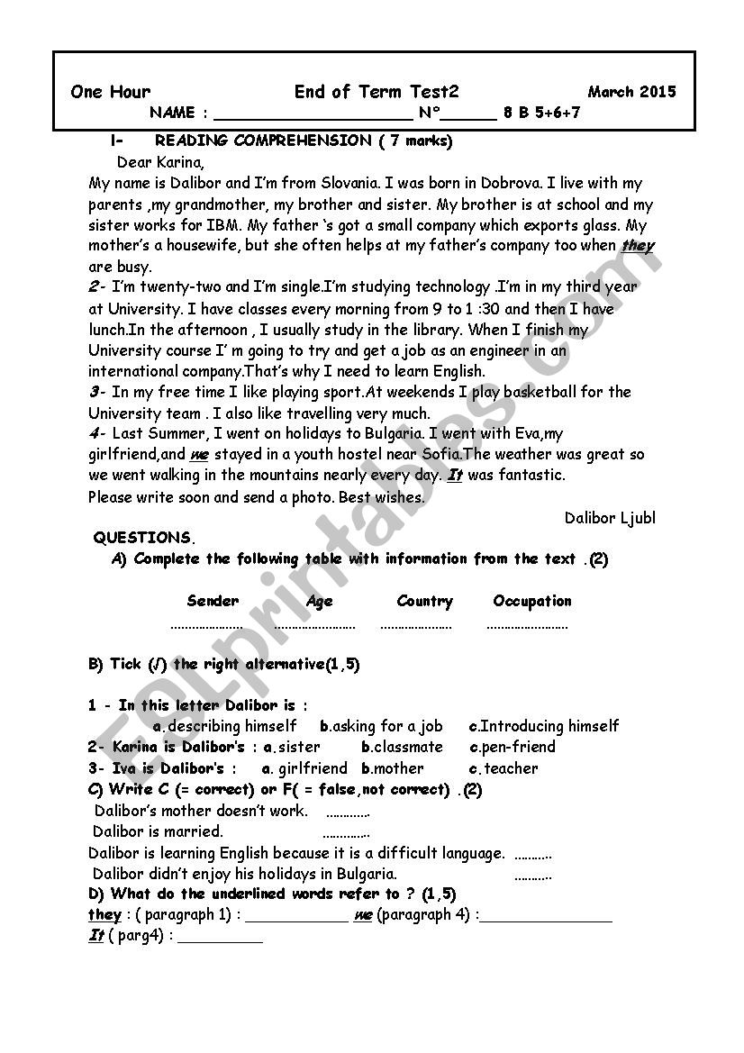 end of term test 2 8th form worksheet