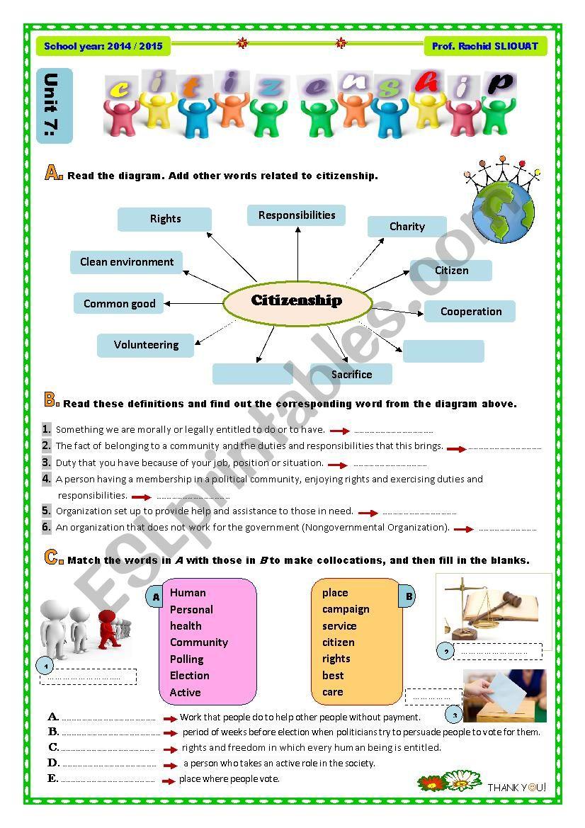 Citizenship - Vocabulary worksheet