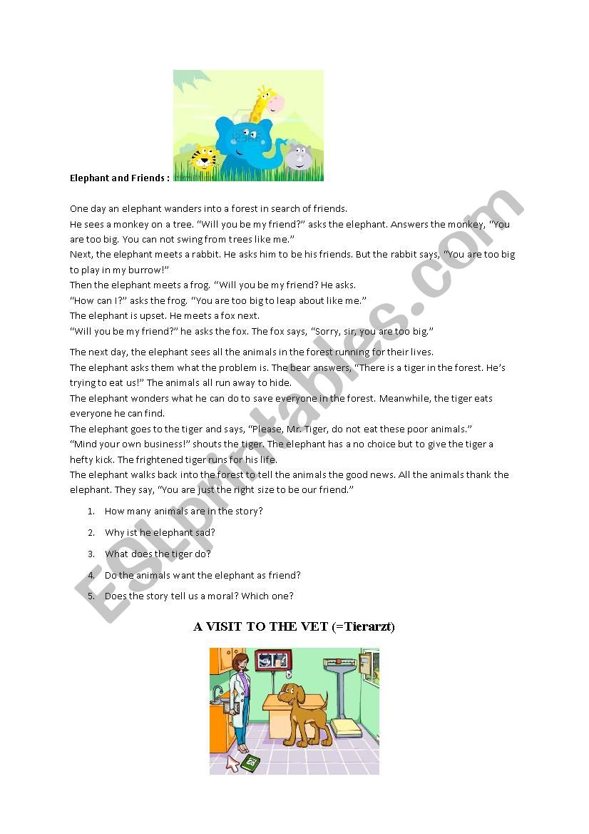 elephant and friends worksheet