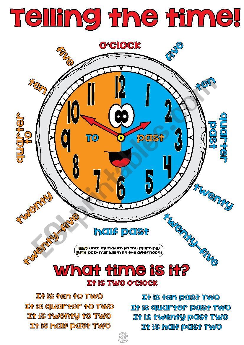 Telling the time! POSTER worksheet