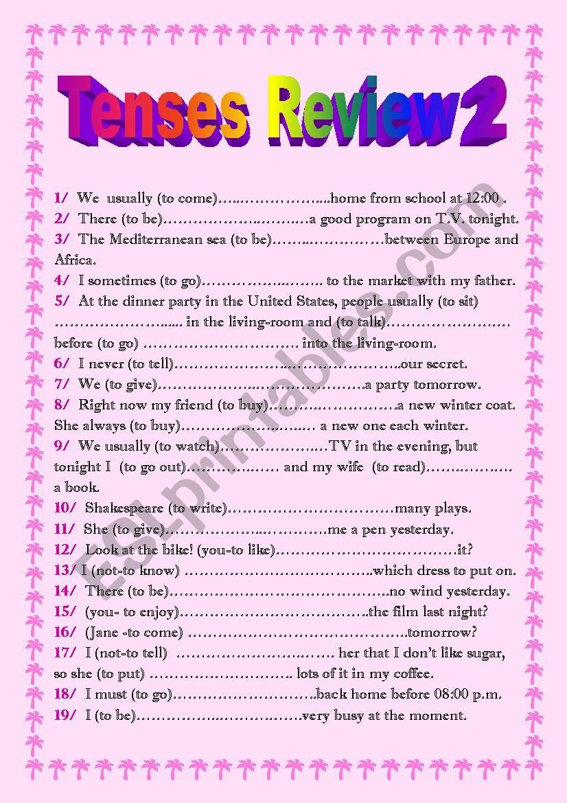 Tenses Test 2 worksheet