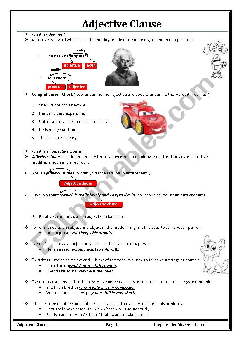Adjective Clause Lesson I worksheet