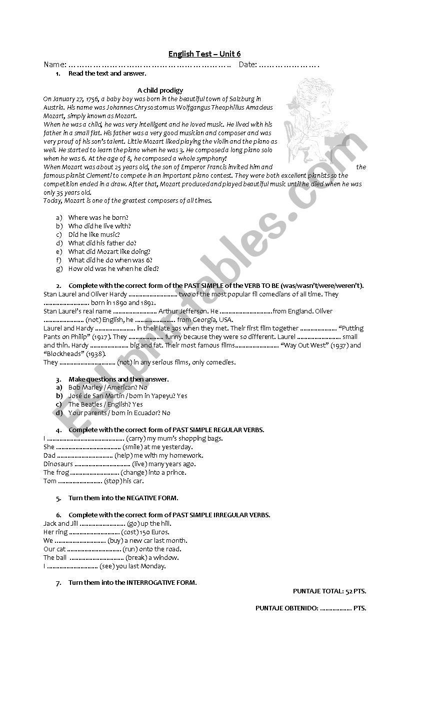 english test past simple worksheet