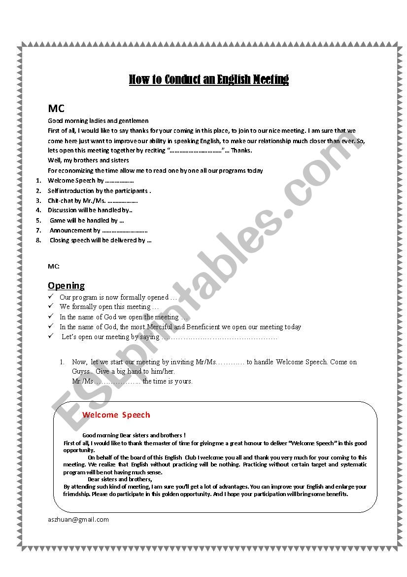 English Meeting Club programs - ESL worksheet by Aswan