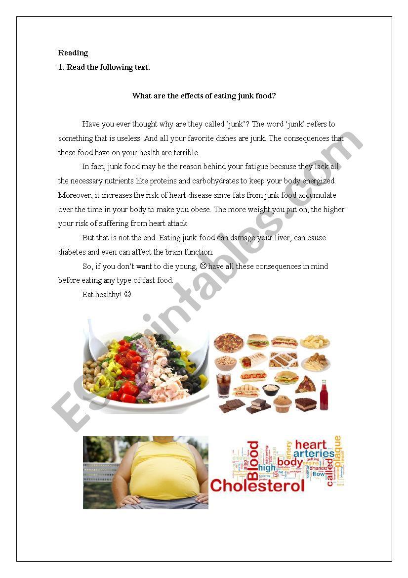 Effects of junk food worksheet