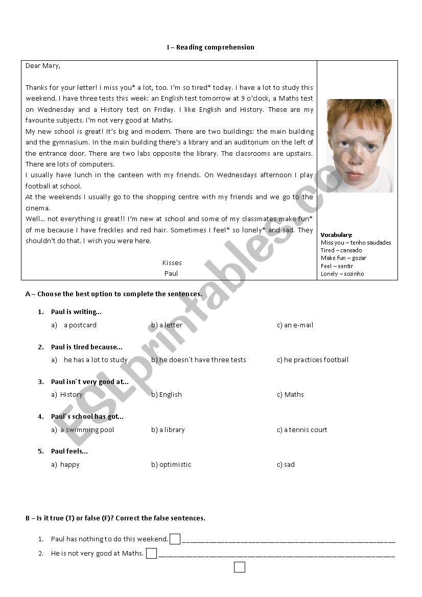 6th form written test worksheet
