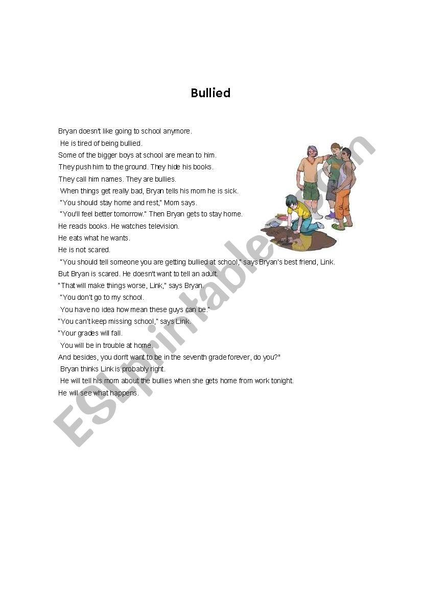 Bullied worksheet