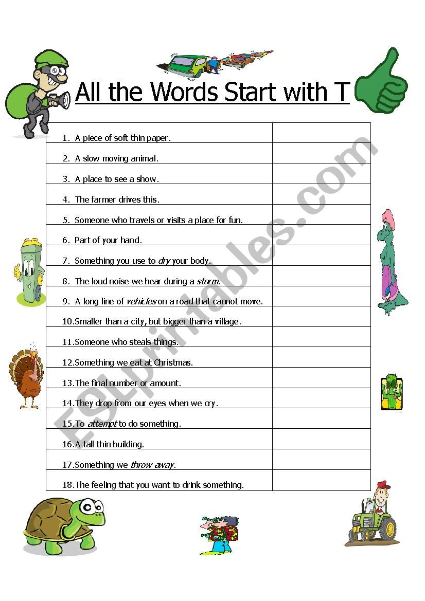 All the Words Start with T worksheet