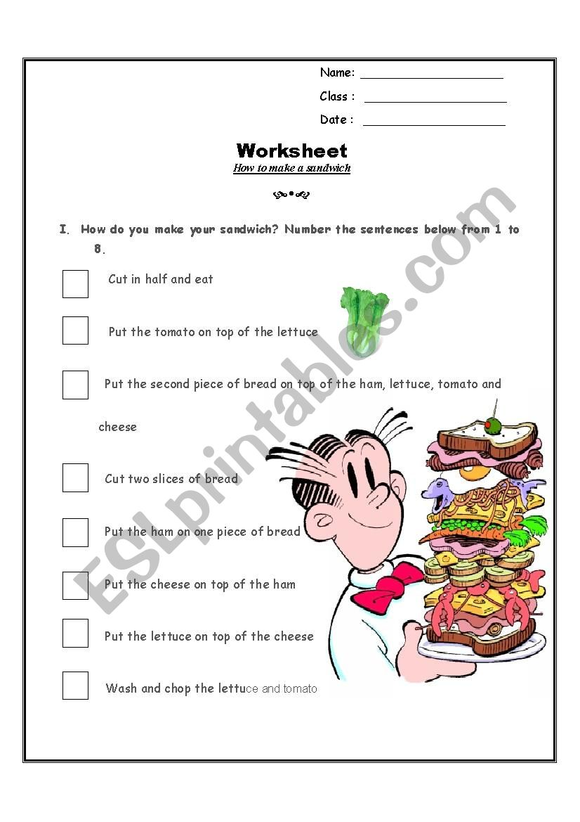 How to make a sandwich worksheet