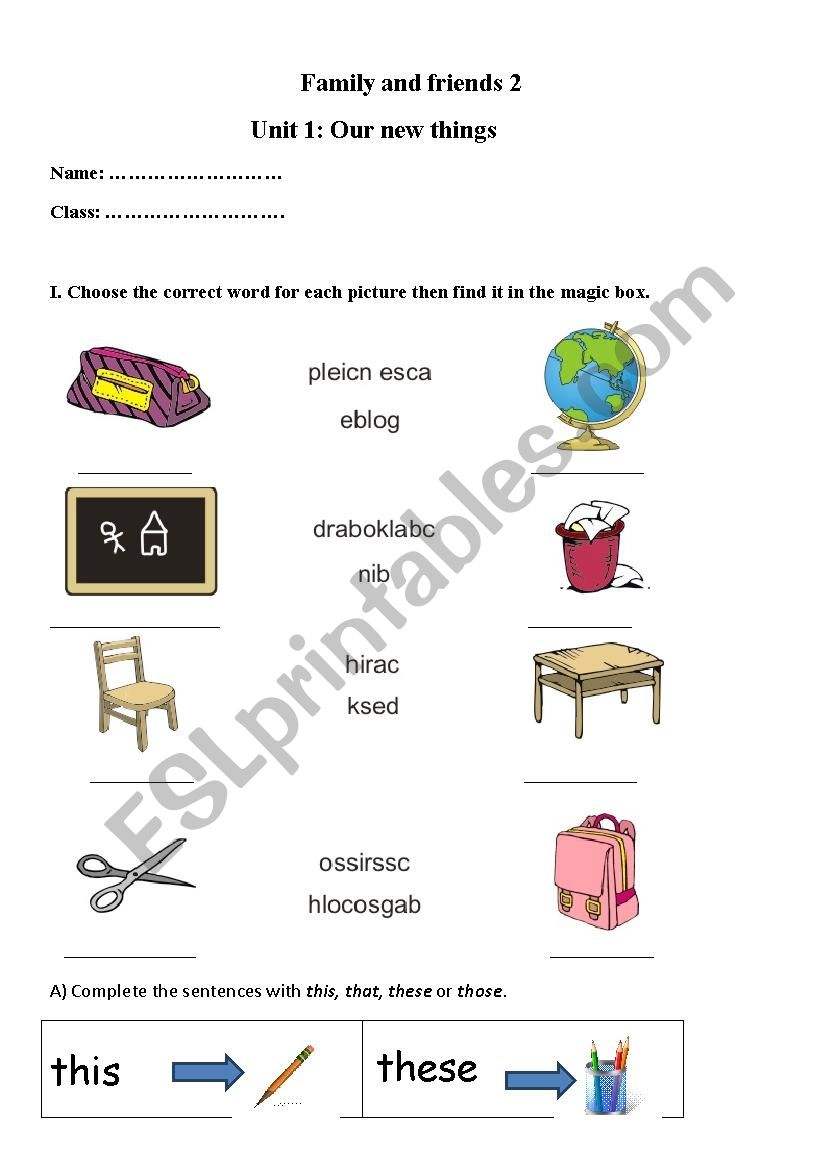 Family and friends 2 worksheet