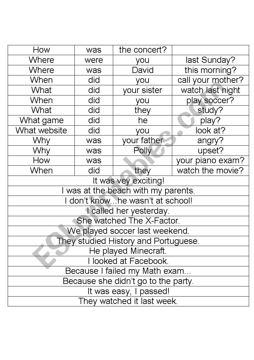 Simple past questions and answers