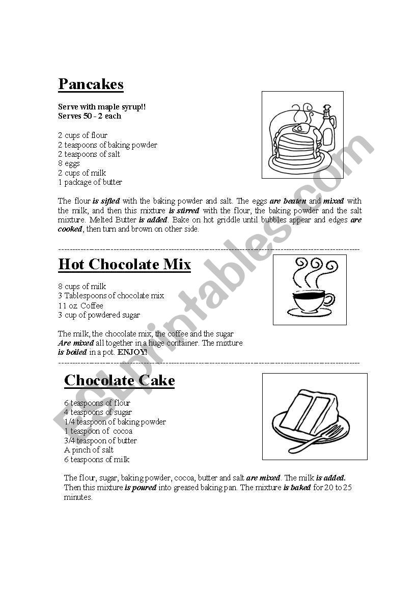RECIPES FOR KIDS worksheet