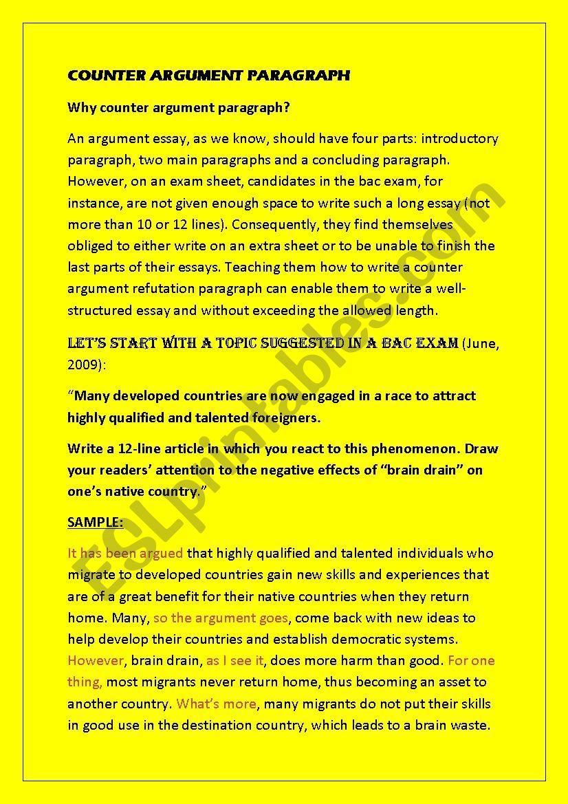 counter argument paragraph   ESL worksheet by gharbi30