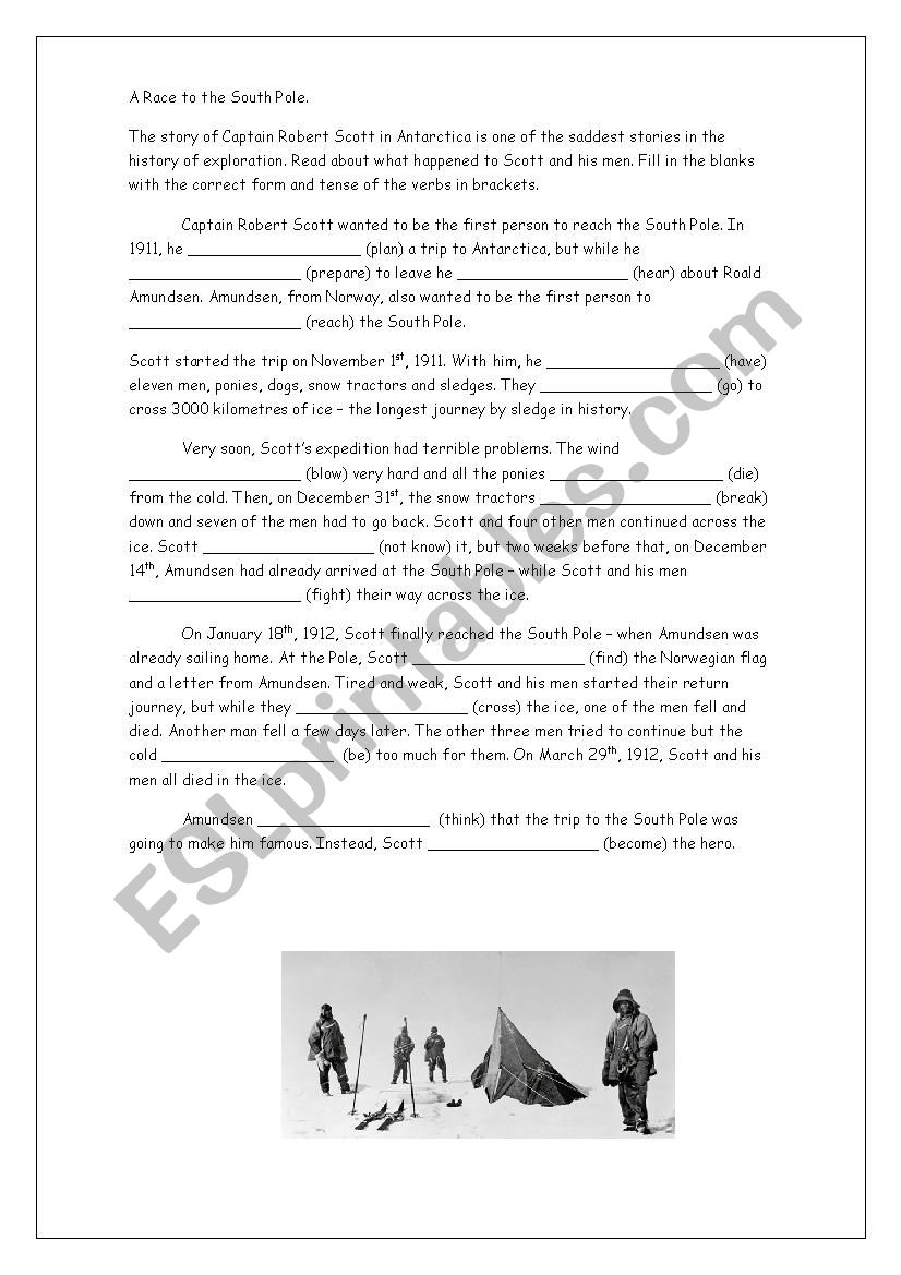 A Race to the South Pole. worksheet