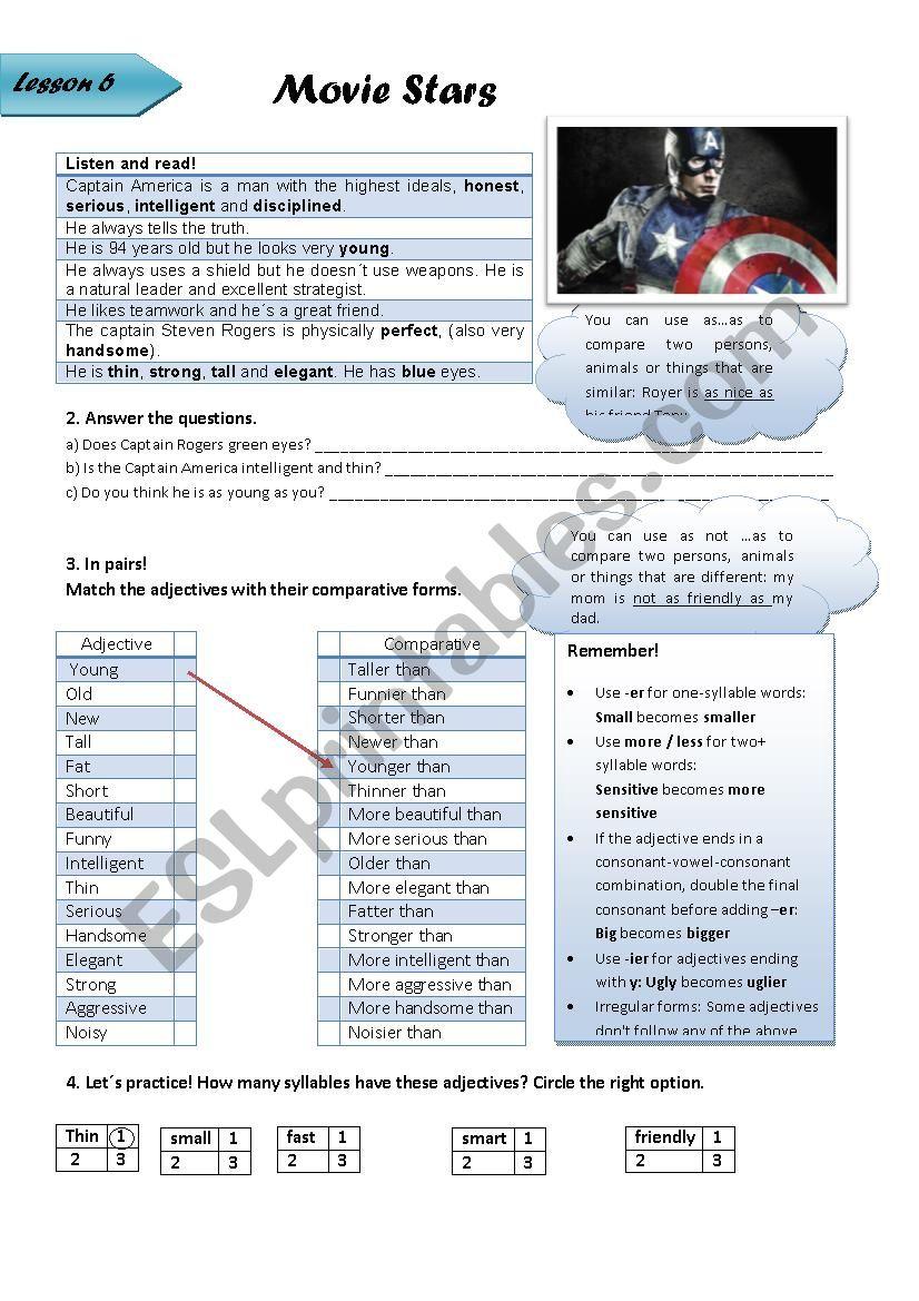 comparing people worksheet
