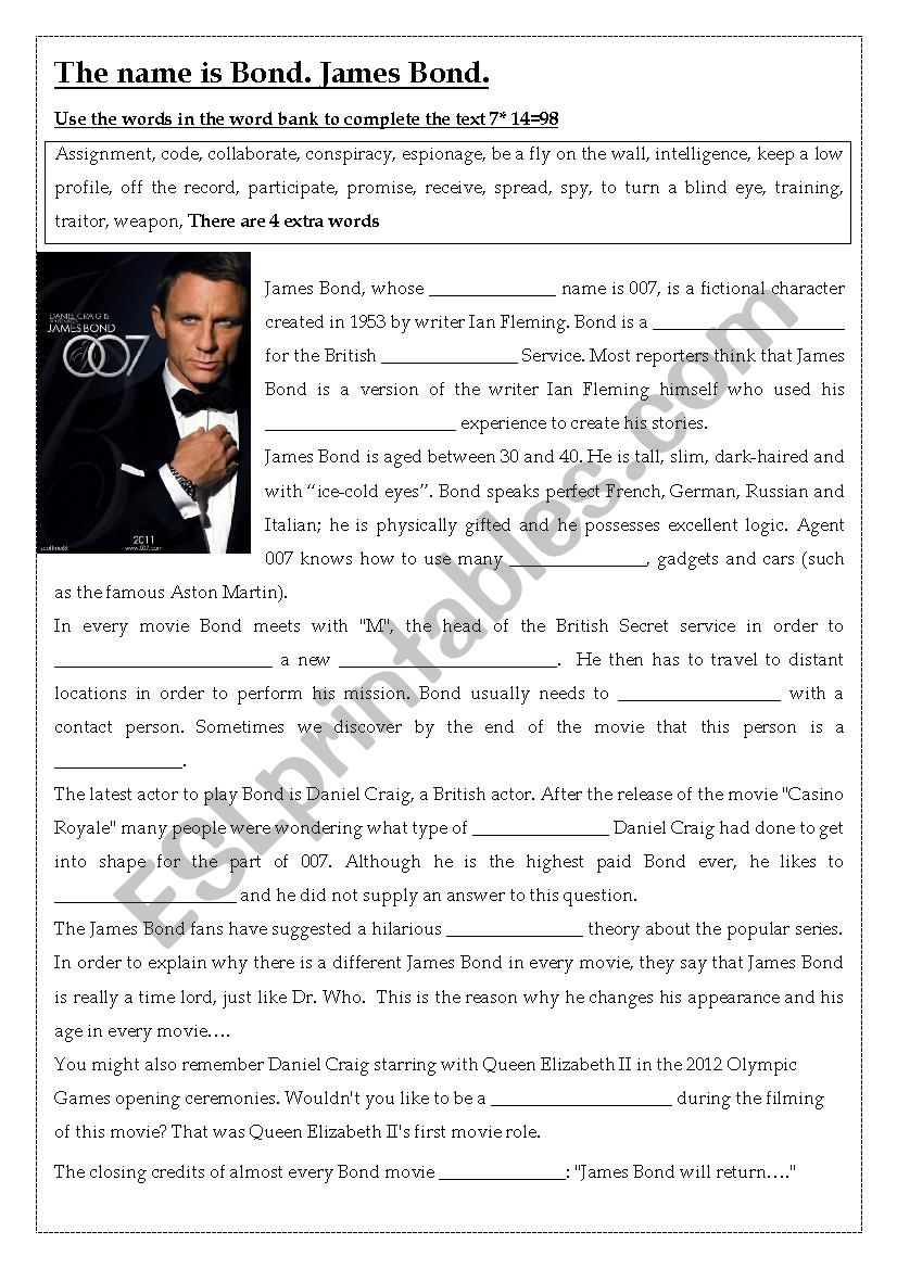 James Bond  worksheet