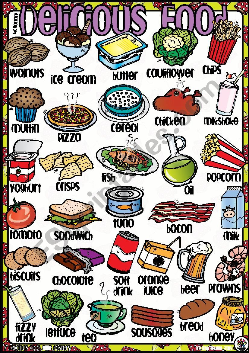 Delicious FOOD! Poster 2-2 worksheet