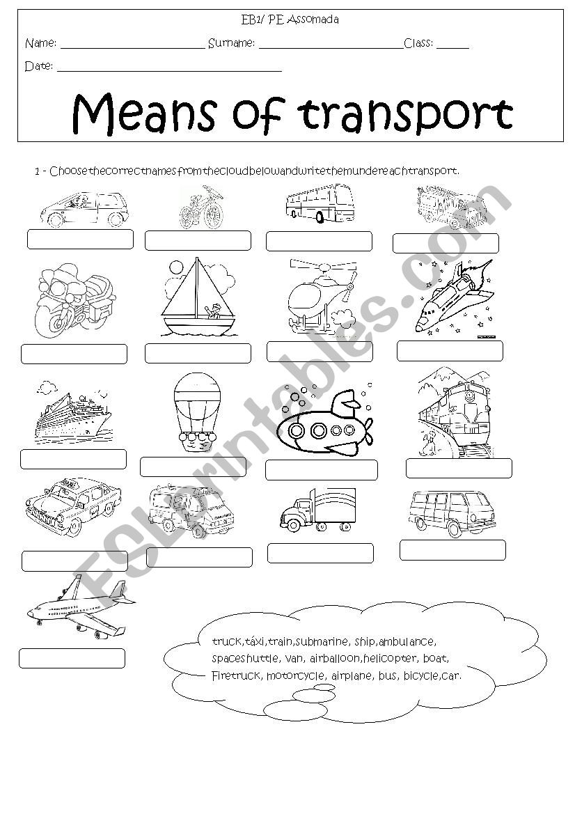 means of transport esl worksheet by lioness30. Black Bedroom Furniture Sets. Home Design Ideas