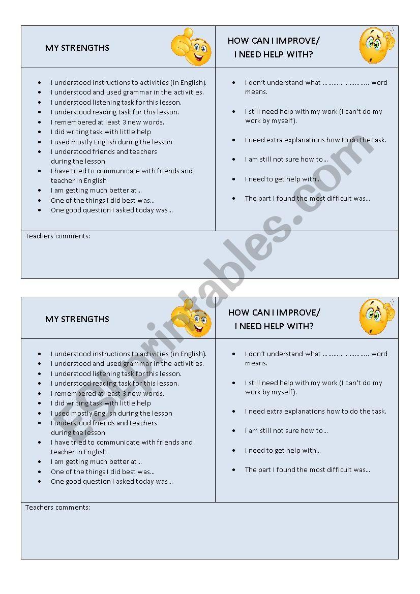 Self evaluation promps worksheet