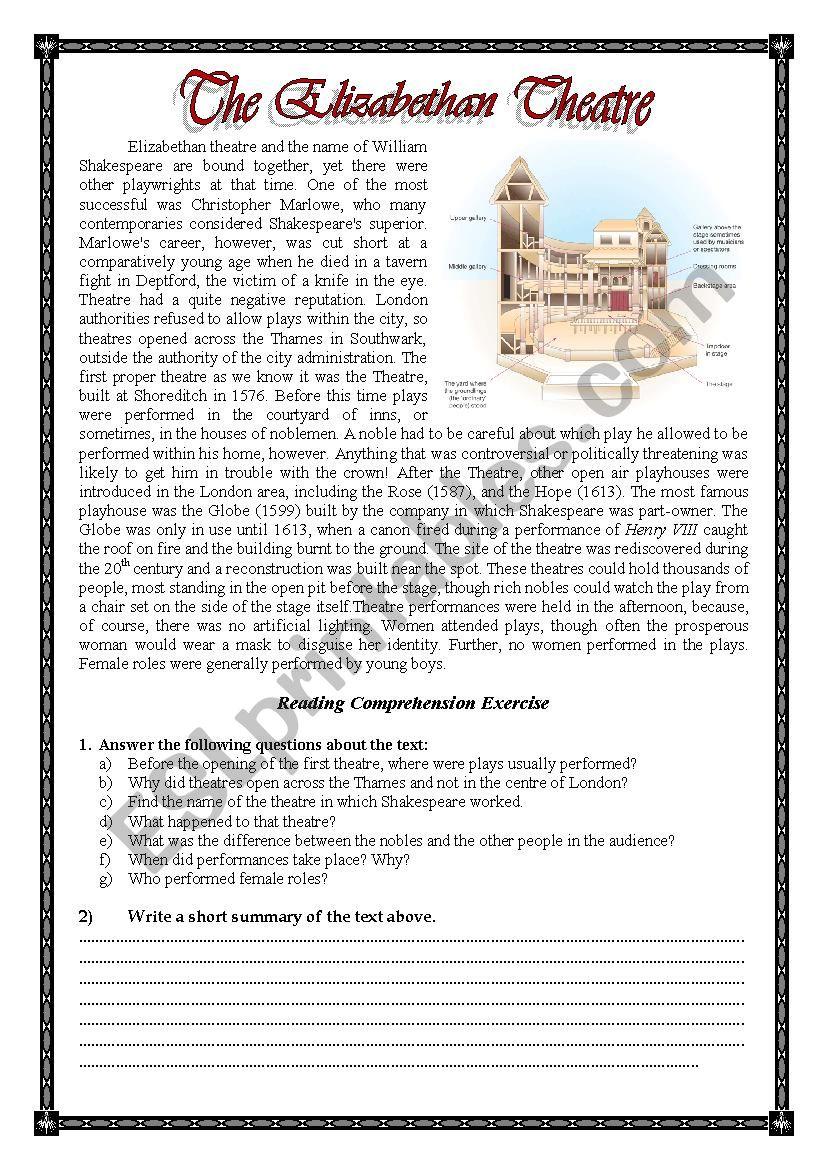 The Elizabethan Theatre worksheet