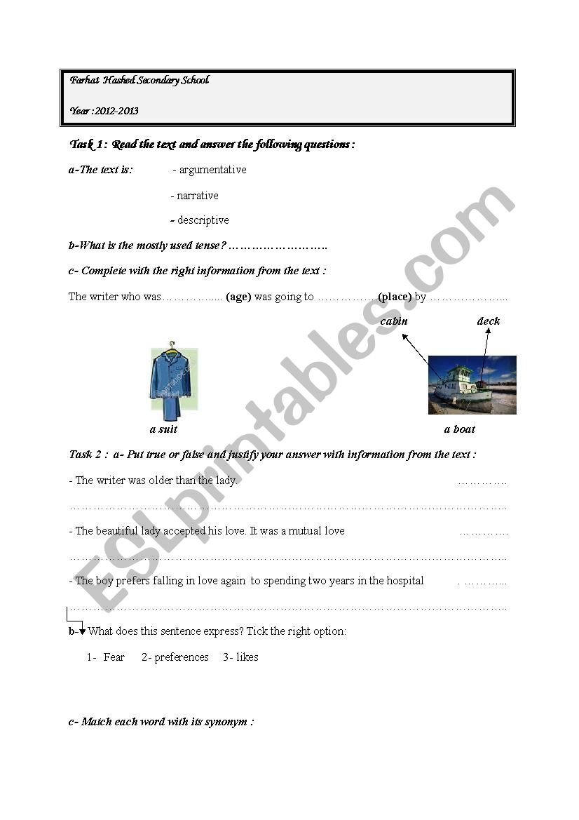 lesson 12 love boat worksheet