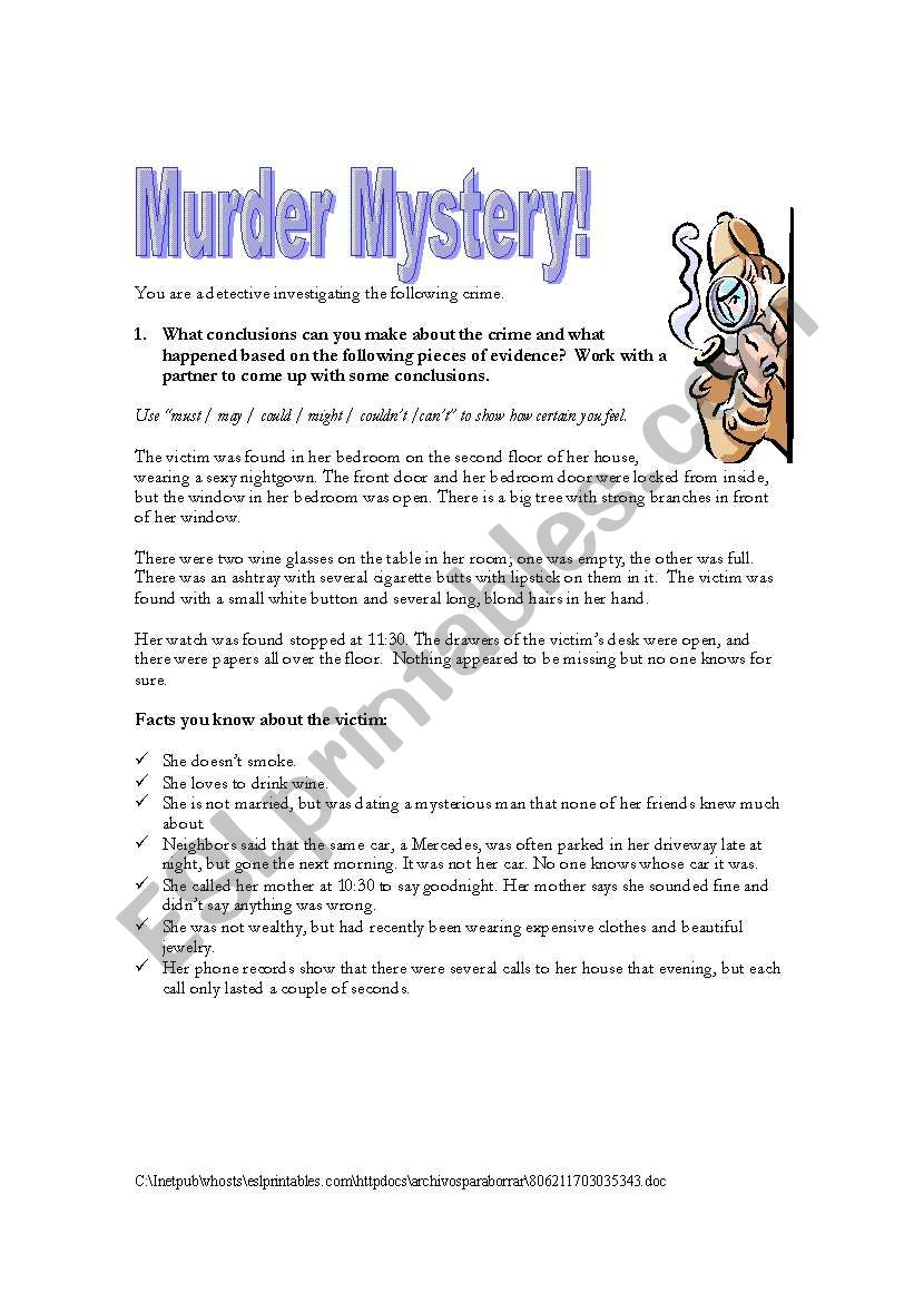 Murder Mystery! - ESL worksheet by jfarnell