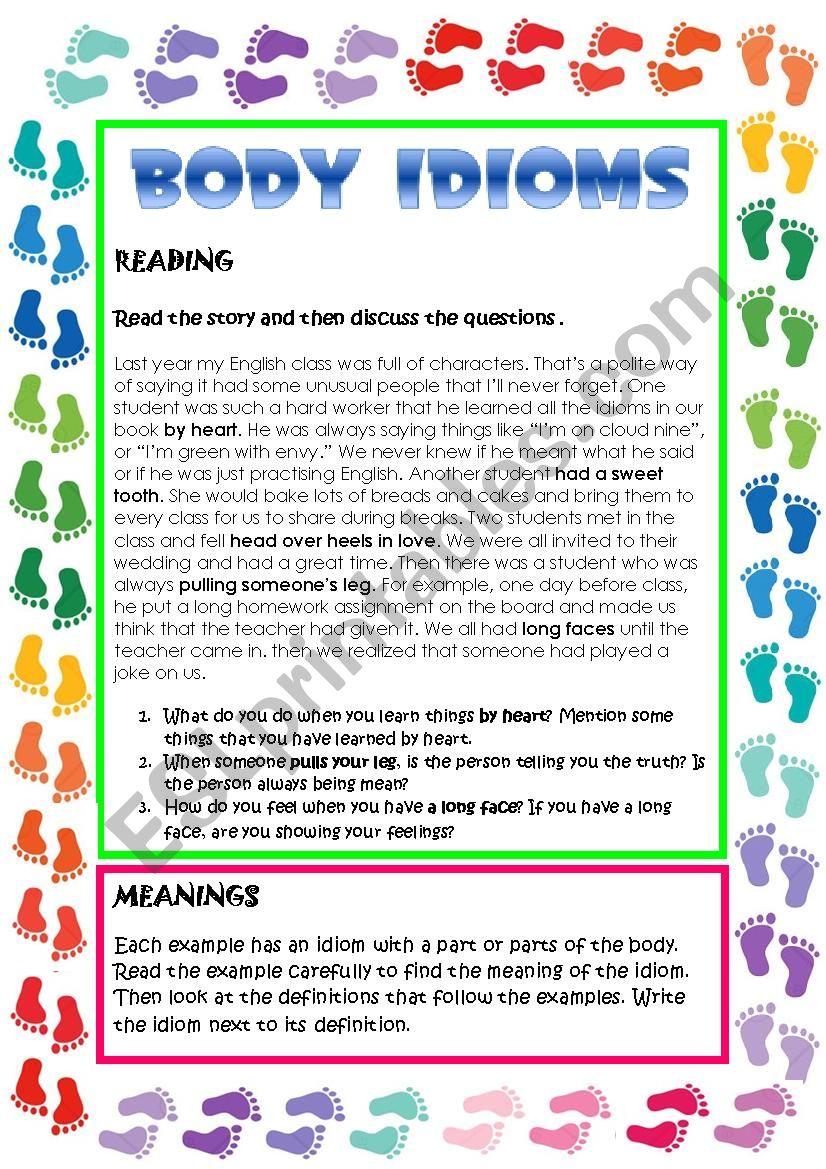 BODY IDIOMS worksheet