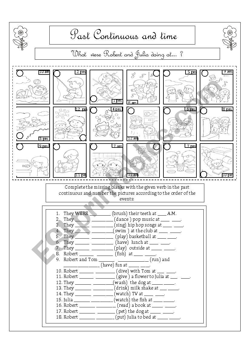 Past Continuous and Time worksheet