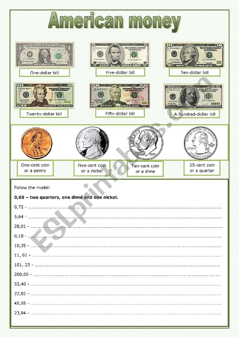 American money worksheet