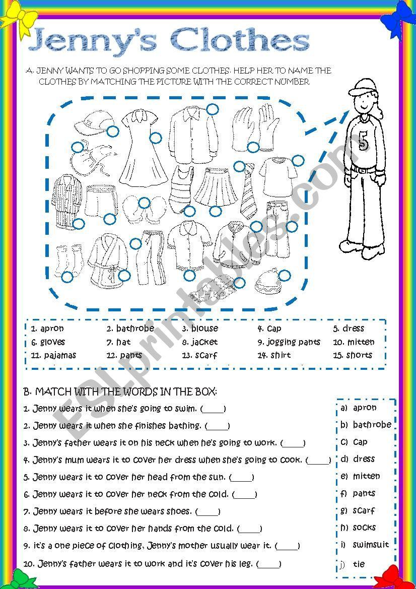 JENNY´S CLOTHES worksheet