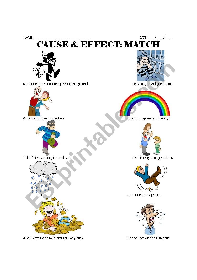 Cause & Effect Match worksheet